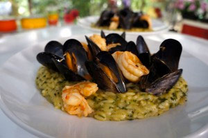 Orzo Pasta Seafood Casserole (Giouvetsi) with basil and tsipouro