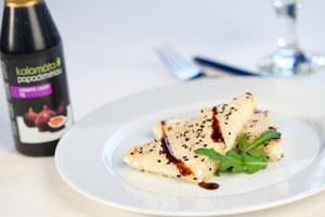 Smažený sýr feta na krétský způsob (feta saganaki me susami)