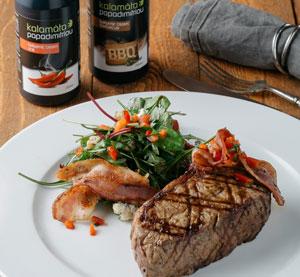 Steak z nízkého roštěnce marinovaný v BBQ balzamikovém krému Kalamáta Papadimitriou