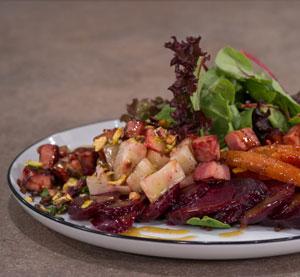 Black Lentil Salad with Celeriac, Beetroot and Ham