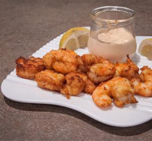 Παναρισμένες γαρίδες με μουστάρδα με μέλι