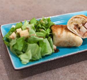 Toρτίγια με μήλο, ψητή γαλοπούλα & havarti