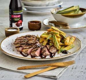 Φιλετίνια μοσχαρίσια μαριναρισμένα με κρέμα βαλσαμικού Ρόδι με γλυκαντικό από το φυτό στέβια