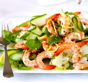 Fresh Green Salad with Marinated Shrimps and Honey Balsamic Dressing