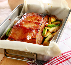 Pork belly strips in the Dutch oven marinated with Balsamic Vinegar with Honey Kalamata Papadimitriou and courgettes