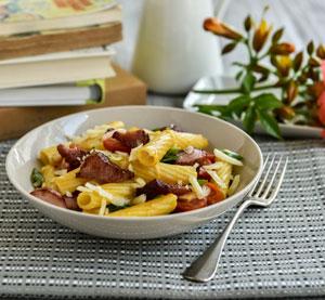 "Rigatoni with Mani Salted Smoked Pork (""Singlino""), cherry tomatoes, gruyere and a light mustard sauce"