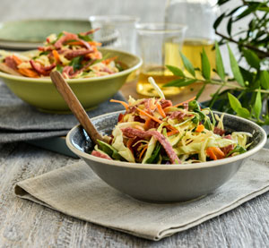 Cabbage Salad with Roasting Pimentos, Salami, Rocket and Orange – Lemon Balsamic Cream and Mustard Dressing