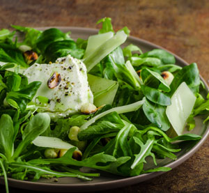 Green Salad with Grilled Goat Cheese and Cashews