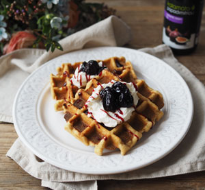 Coconut Waffles with Caramelized Sour Cherries
