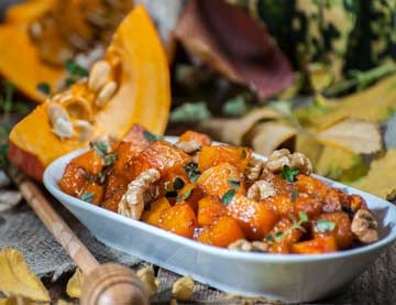 Caramelized Pumpkin with Fig Balsamic Cream and Walnuts