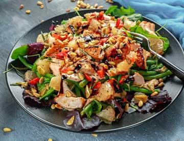 Green Salad with Roast Salmon, Grapefruit and Pomegranate Balsamic Cream