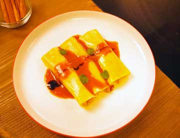 Canelloni filled with Turkey, Cheese Cream and Tomato Sauce
