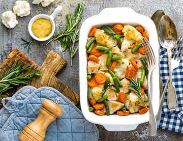 Roasted Chicken Fillet with Vegetables and Mustard Sauce