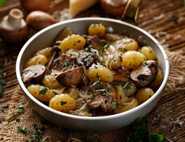 Potato Gnocchi with Mushrooms, Chestnuts and Spicy Mustard