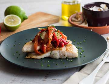 Sautéed Perch Fillet with Roasted, Marinated Florina Peppers