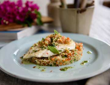 Sautéed Sea bream Fillets served with a Salad of Groats, Quinoa and finely chopped Vegetables.