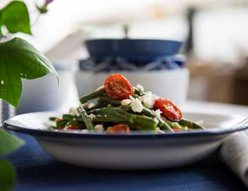 String Bean Salad with a Dressing of Roasted Cherry Tomatoes and  Orange & Lemon Balsamic Cream