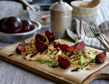 Grilled Halloumi with Plums and Balsamic Cream
