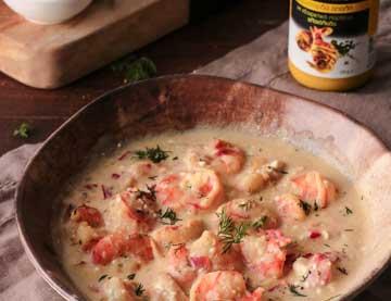Γαρίδες σαγανάκι με σάλτσα μουστάρδας