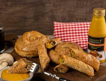 Στριφτόπιτα με μανιτάρια, μουστάρδα με μέλι και τυριά