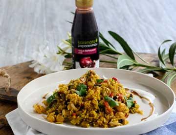 Ρύζι με λαχανικά, ρεβίθια και κρέμα βαλσαμικού ρόδι